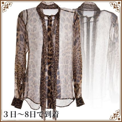 関税込◆Saint Laurent Bow Tie Blouse In Ysl Leopard-print
