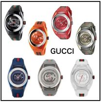 【GUCCI】ユニセックス Swiss Sync Striped Rubber Strap Watch