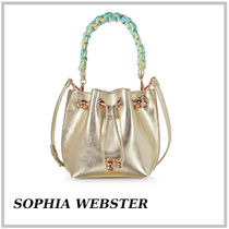 SOPHIA WEBSTER★Champagne Laminated Leather Romy Mini Bucket