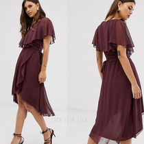 国内発送ASOS DESIGN cape back dipped hem midi dress
