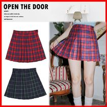 ☆人気☆【OPEN THE DOOR】☆Check Tennis Skirt☆2色☆