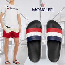 **Moncler**モンクレール★Logo-Embossed Striped Rubber Slides