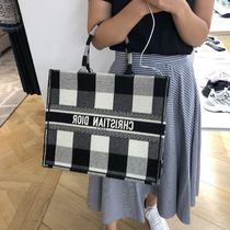"""【Dior】19/20AW チェック キャンバス """"DIOR BOOK TOTE""""バッグ"""