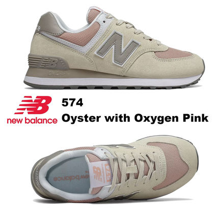 New Balance 574 Oyster with Oxygen Pink