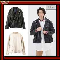 [ROMANTIC CROWN]  WIDE LEATHER RIDER JACKET [全2色] /追跡付