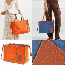 【LOEWE】CUSHION LEATHER-TRIMMED CANVAS TOTE