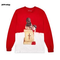 New !! Fucking Awesome Prey Bleach Dip Dyed LS Tee / Red