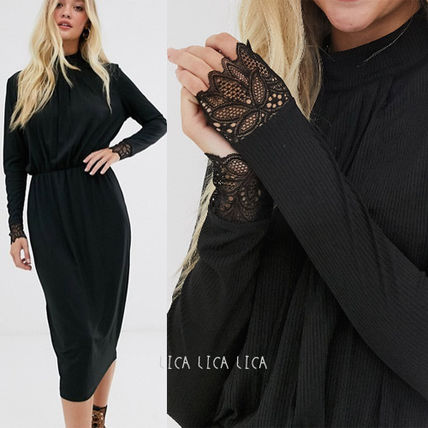 ASOS ワンピース 国内発送ASOS/Y.A.S high neck plisse dress with lace cuff