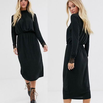 ASOS ワンピース 国内発送ASOS/Y.A.S high neck plisse dress with lace cuff(2)