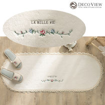DECO VIEW (デコヴュー) ★ Flower Line Embroidery Kitchen Mat