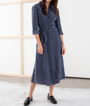 """& Other Stories ワンピース """"& Other Stories"""" Belted Micro Floral Midi Dress Navy(3)"""