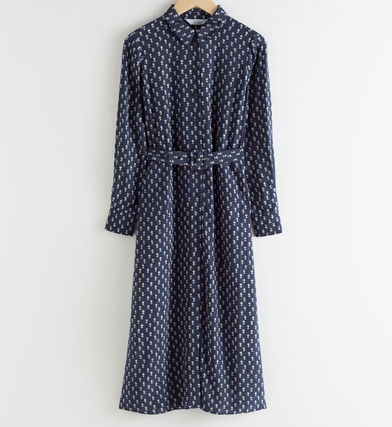 """& Other Stories ワンピース """"& Other Stories"""" Belted Micro Floral Midi Dress Navy(5)"""