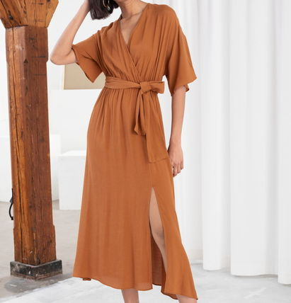 "& Other Stories ワンピース ""& Other Stories"" Side Slit Midi Wrap Dress Rust"