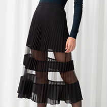 """& Other Stories"" Pleated Mesh Stripe Midi Skirt Black"