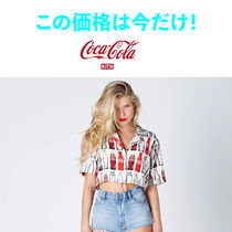 KITH WOMEN X COCA-COLA BOTTLES PRINT CROPPED BUTTON-UP