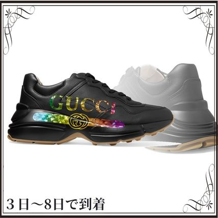 GUCCI スニーカー 関税込◆Rhyton metallic logo-print leather sneakers