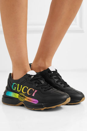 GUCCI スニーカー 関税込◆Rhyton metallic logo-print leather sneakers(4)