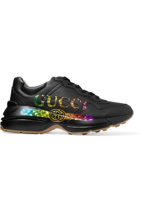 GUCCI スニーカー 関税込◆Rhyton metallic logo-print leather sneakers(5)