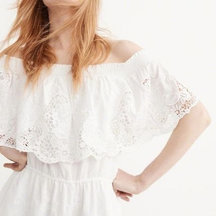 Abercrombie & Fitch ワンピース OFF-THE SHOULDER LACE DRESS