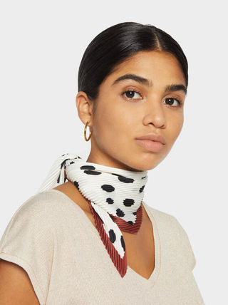Printed And Pleated Square Scarf