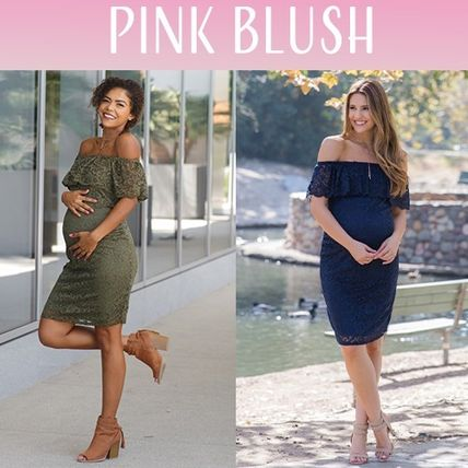 PINKBLUSH マタニティワンピース 【PINK BLUSH】 Lace Off Shoulder Fitted Maternity Dress