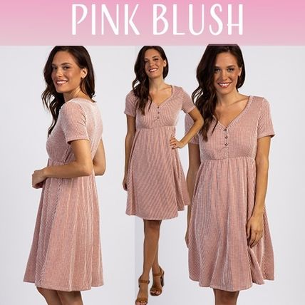 PINKBLUSH マタニティワンピース 【PINK BLUSH】Rust Striped Button Front Dress