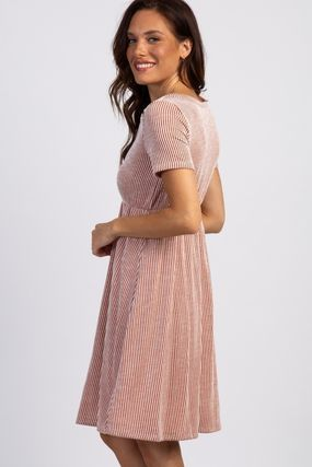 PINKBLUSH マタニティワンピース 【PINK BLUSH】Rust Striped Button Front Dress(3)