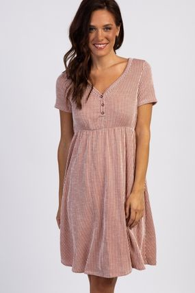 PINKBLUSH マタニティワンピース 【PINK BLUSH】Rust Striped Button Front Dress(4)