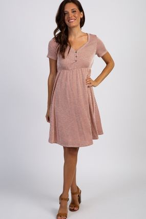 PINKBLUSH マタニティワンピース 【PINK BLUSH】Rust Striped Button Front Dress(5)