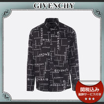 20AW/送関込≪GIVENCHY≫ ロゴ プリント コットン シャツ