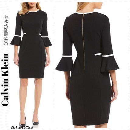Calvin Klein ワンピース セール中♪Calvin Klein☆Bell Sleeve Piping Detail Dress
