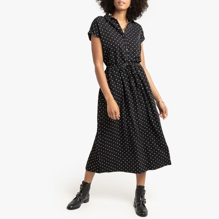 LA Redoute ワンピース La Redoute Shirt Dress Dot Print Sleeveless