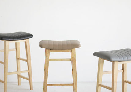 roomnhome 椅子・チェア SILIT WOOD BAR STOOL PU素材クッション 木製バースツール(4)