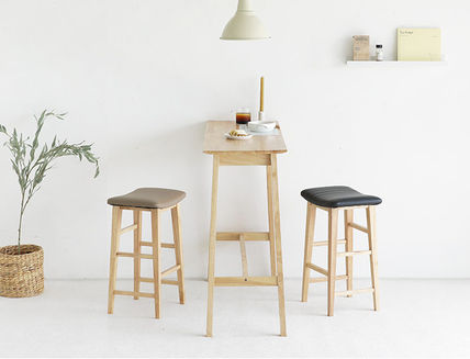 roomnhome 椅子・チェア SILIT WOOD BAR STOOL PU素材クッション 木製バースツール(6)