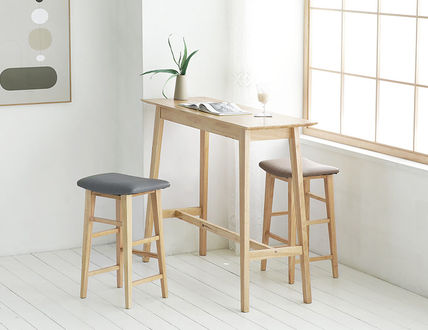 roomnhome 椅子・チェア SILIT WOOD BAR STOOL PU素材クッション 木製バースツール(9)