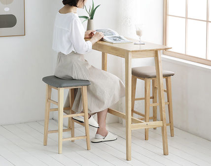 roomnhome 椅子・チェア SILIT WOOD BAR STOOL PU素材クッション 木製バースツール(10)