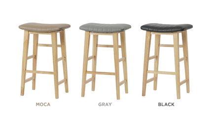 roomnhome 椅子・チェア SILIT WOOD BAR STOOL PU素材クッション 木製バースツール(14)