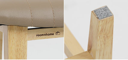 roomnhome 椅子・チェア SILIT WOOD BAR STOOL PU素材クッション 木製バースツール(19)