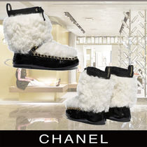 CHANEL Ankle Boots Shearling Lambskin & Patent Calfskin