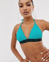 Klein intense power fixed triangle bikini top in green