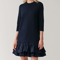 """COS"" KNITTED DRESS WITH WOVEN PLEATS NAVY"