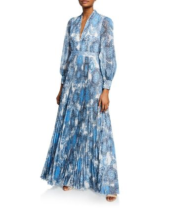 Alice+Olivia ワンピース セール★Alice+Olivia★Cheney Slit-Sleeve Pleated Maxi Dress(2)