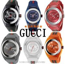 Gucci☆グッチ Unisex Swiss Sync Striped Rubber Strap Watch