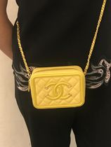 2019 CHANEL★CC FILIGREE VANITY CASE toy size in Yellow
