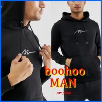 ★boohooMAN★Hoodie With Man Embroidery 刺繍 ロゴ フーディ