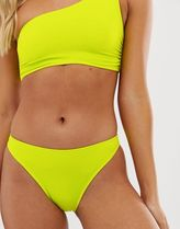 Miss Selfridge bikini briefs with high leg in lime green