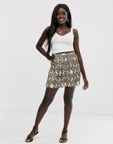 ASOS DESIGN geo print mini pleated skirt