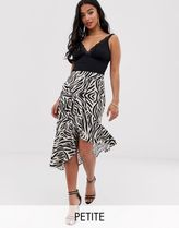 Petite midi wrap skirt with frill detail in zebra