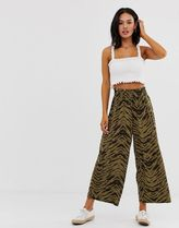 ASOS DESIGN shirred waist culotte in abstract animal print