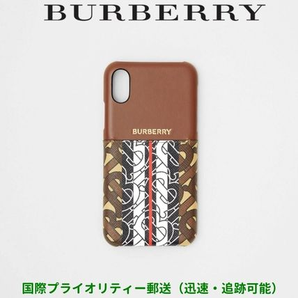 Burberry スマホケース・テックアクセサリー BURBERRY Leather and Monogram Stripe iPhone X/XS ケース